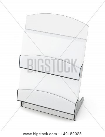 Card Holder With Blank Card On White Background. 3D Rendering
