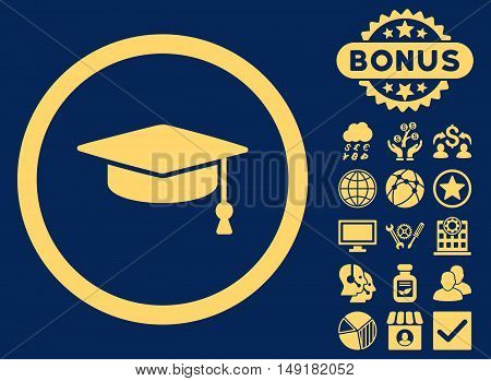 Graduation Cap icon with bonus symbols. Vector illustration style is flat iconic symbols yellow color blue background.