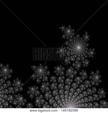 Floral light bronze white decoration on black