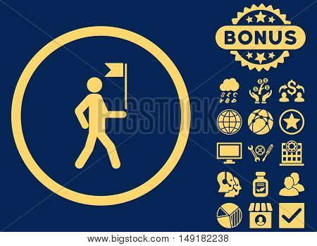 Guide icon with bonus symbols. Vector illustration style is flat iconic symbols yellow color blue background.