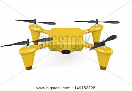 Yellow Drone Isolated On White Background. 3D Rendering