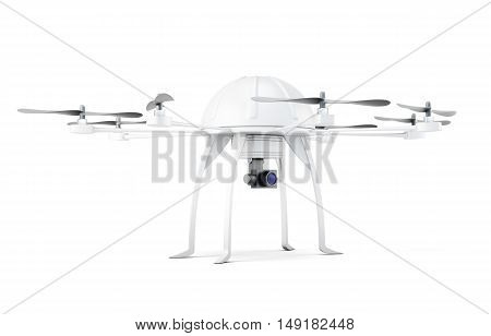 Multicopter on white background on a white. 3d rendering.