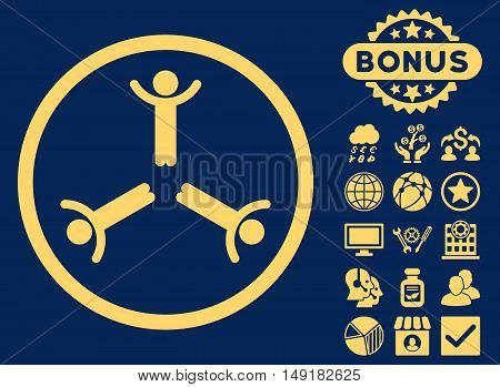 Hands Up Men icon with bonus images. Vector illustration style is flat iconic symbols yellow color blue background.
