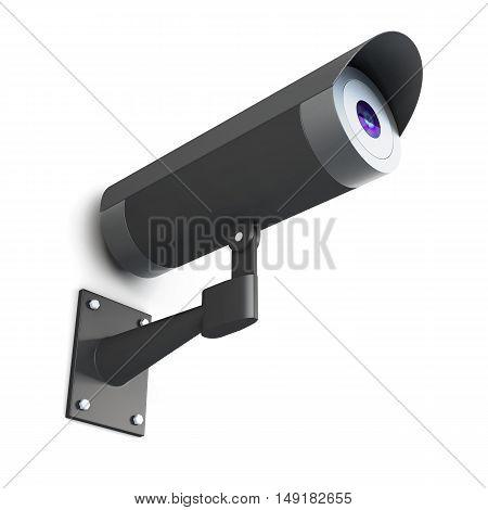 Surveillance Camera On White Background. 3D Rendering