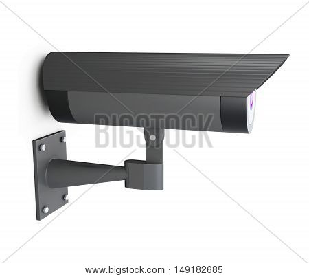 Video surveillance camera on a white. 3d rendering.