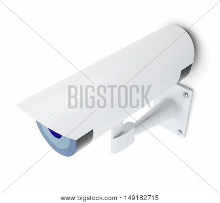 White Security Camera Isolated On White Background. 3D Rendering
