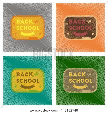 assembly flat shading style icons of Back to school board