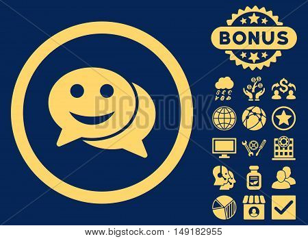 Happy Chat icon with bonus design elements. Vector illustration style is flat iconic symbols yellow color blue background.
