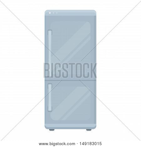 Refrigerator icon in cartoon style isolated on white background. Household appliance symbol vector illustration.