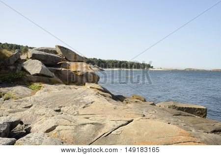 Beach in Island of Arousa in the province of Pontevedra Galicia Spain.