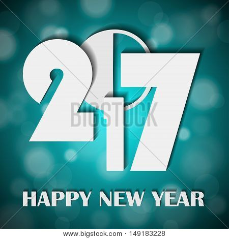 New Year 2017 Concept On Shiny Bright Turquoise Lights Blurred Background. Vector Illustration