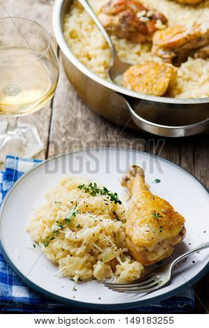 ONE POT RISOTTO WITH CHICKEN.stile rustic.selective focus