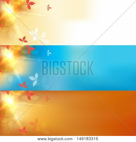 Set of autumn blurred blue abstract banners with bokeh effect, red leaves. Vector illustration