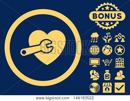 Heart Surgery icon with bonus pictures. Vector illustration style is flat iconic symbols yellow color blue background.