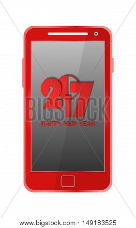 Red Modern Mobile Phone Isolated. New Year 2017 Concept. Vector Illustration