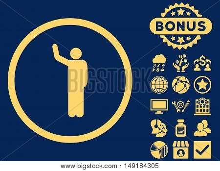 Hello icon with bonus design elements. Vector illustration style is flat iconic symbols yellow color blue background.