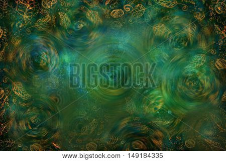 green textured background with golden leaf pattern and blur effect.