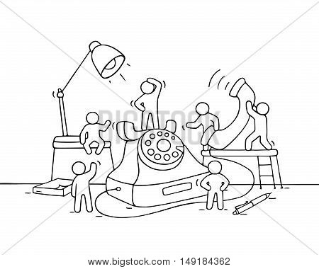 Cartoon working little people with big phone. Doodle cute miniature scene of workers make a call. Hand drawn cartoon vector illustration for business design.