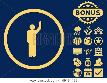 Hitchhike icon with bonus images. Vector illustration style is flat iconic symbols yellow color blue background.