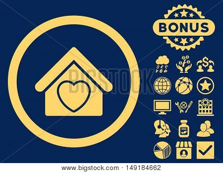 Hospice icon with bonus pictogram. Vector illustration style is flat iconic symbols yellow color blue background.