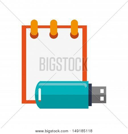 flat design notepad and usb drive  icon vector illustration