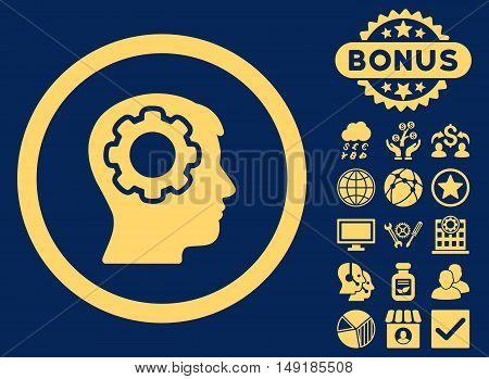 Human Mind icon with bonus elements. Vector illustration style is flat iconic symbols yellow color blue background.