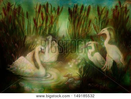 pair of swans and crane birds at pond surrounded with reeds, fairytale illustration.