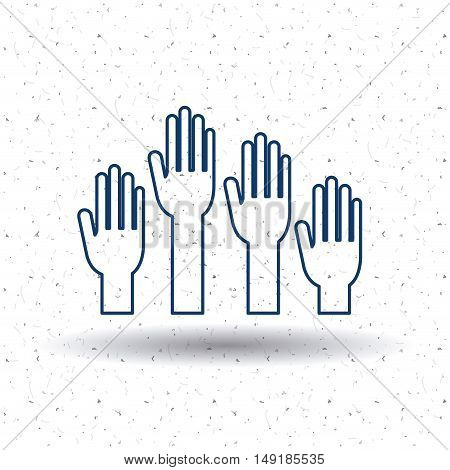 Hand icon. Vote election nation and government theme. Silhouette and isolated design. Vector illustration