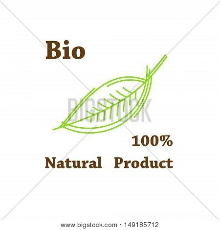 Natural product, organic label. Eco product,  green leaf label