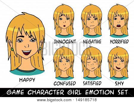 game character girl blonde hair emotions set. Vector illustration. Made with love