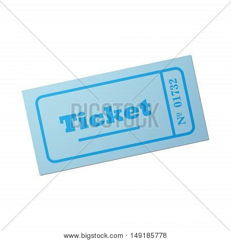 Ticket of flat style, cartoon style, vector illustration. Vintage ticket stub isolated on a background. Retro cinema card.