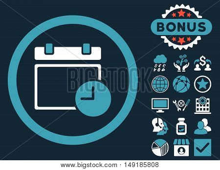 Date and Time icon with bonus elements. Vector illustration style is flat iconic bicolor symbols blue and white colors dark blue background.