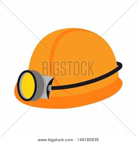 Miner's helmet icon in cartoon style isolated on white background. Mine symbol vector illustration.