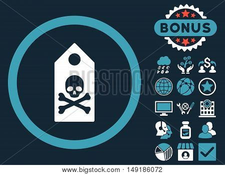 Death Mark icon with bonus images. Vector illustration style is flat iconic bicolor symbols blue and white colors dark blue background.