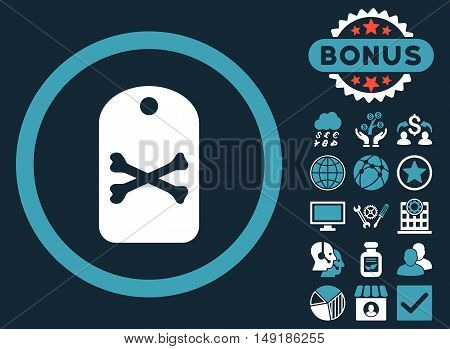 Death Tag icon with bonus pictogram. Vector illustration style is flat iconic bicolor symbols blue and white colors dark blue background.