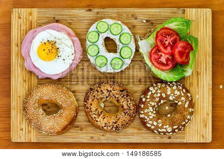 Tasty Bagels Prepared For A Picnic
