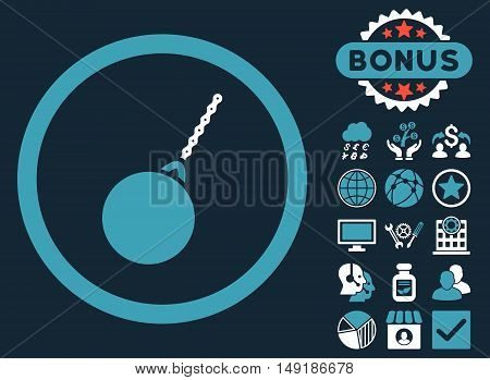 Destruction Hammer icon with bonus pictogram. Vector illustration style is flat iconic bicolor symbols blue and white colors dark blue background.