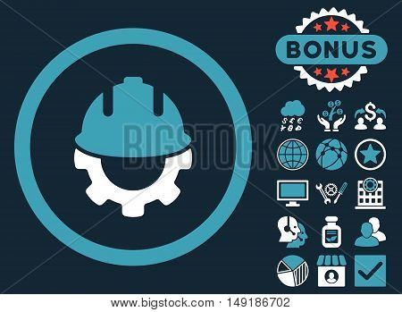 Development icon with bonus images. Vector illustration style is flat iconic bicolor symbols blue and white colors dark blue background.
