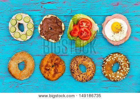 Four Fresh Sliced Bagels With Assorted Filling