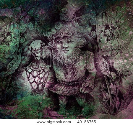 little forest dwarf carrying his lantern in woodland, colorful drawing.