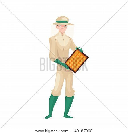 Beekeeper in protective gear holding honeycomb grid, cartoon style vector illustration isolated on white background. Apiarist in protective suit working at the apiary