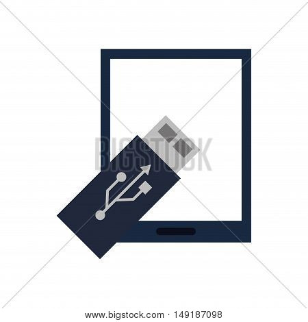 flat design modern cellphone and usb drive  icon vector illustration