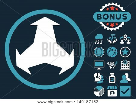 Directions icon with bonus pictogram. Vector illustration style is flat iconic bicolor symbols blue and white colors dark blue background.