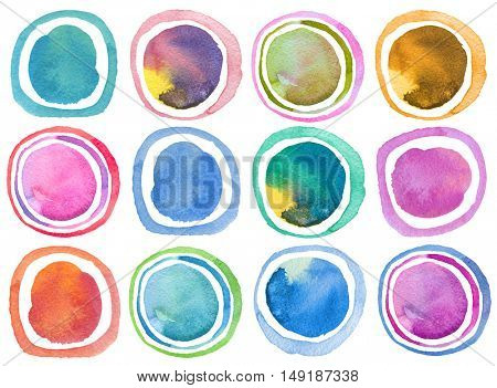 Abstract acrylic and watercolor circle painted background. Collection. Isolated. Texture paper.