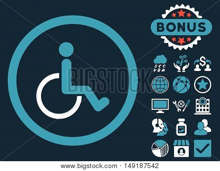 Disabled Person icon with bonus design elements. Vector illustration style is flat iconic bicolor symbols blue and white colors dark blue background.