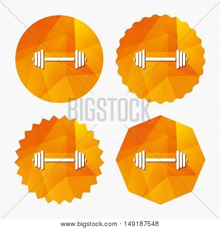 Barbell sign icon. Muscle lifting symbol. Triangular low poly buttons with flat icon. Vector