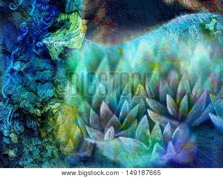 Abstract ornamental background with lotus flower and crackled surface