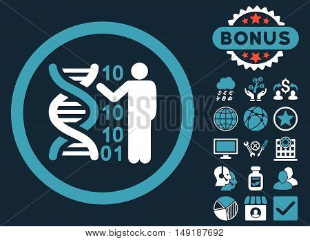 DNA Code Report icon with bonus design elements. Vector illustration style is flat iconic bicolor symbols blue and white colors dark blue background.