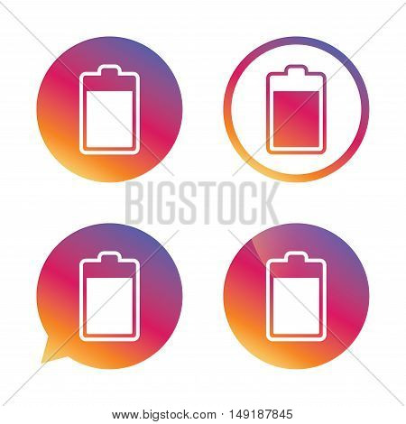 Battery level sign icon. Electricity symbol. Gradient buttons with flat icon. Speech bubble sign. Vector