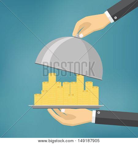hand holding money on a dish. Concept of human charity salary or dividends. flat style vector illustration.